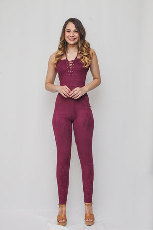 Solid Suede Texture Jumpsuit w/ Lace up Front and Side Zipper
