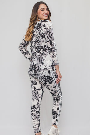 Flower Print Mesh Jacket w/ Pants Set