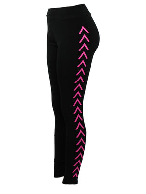 Side Chevron Line Black Fitness Pants