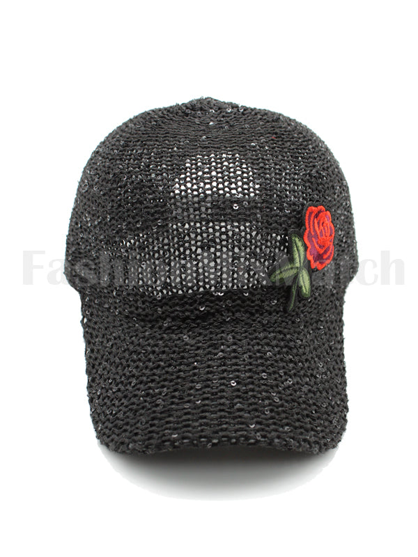 Sequin Crochet Rose Patch Baseball Cap