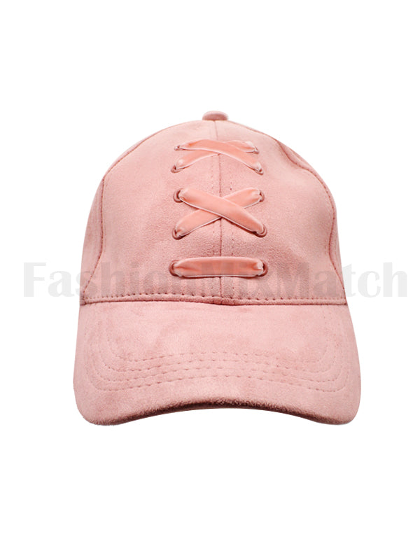 Criss Cross Detail Faux Suede Cap