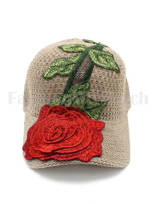 Crochet Rose Patch Cap TAUPE