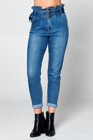 High Waist Paper Bag Jeans w/ Belt