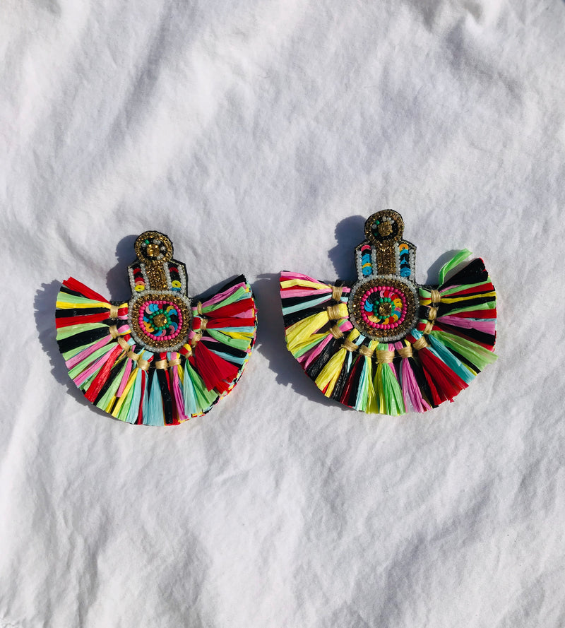 Handmade colorful paper tassel earrings with beads
