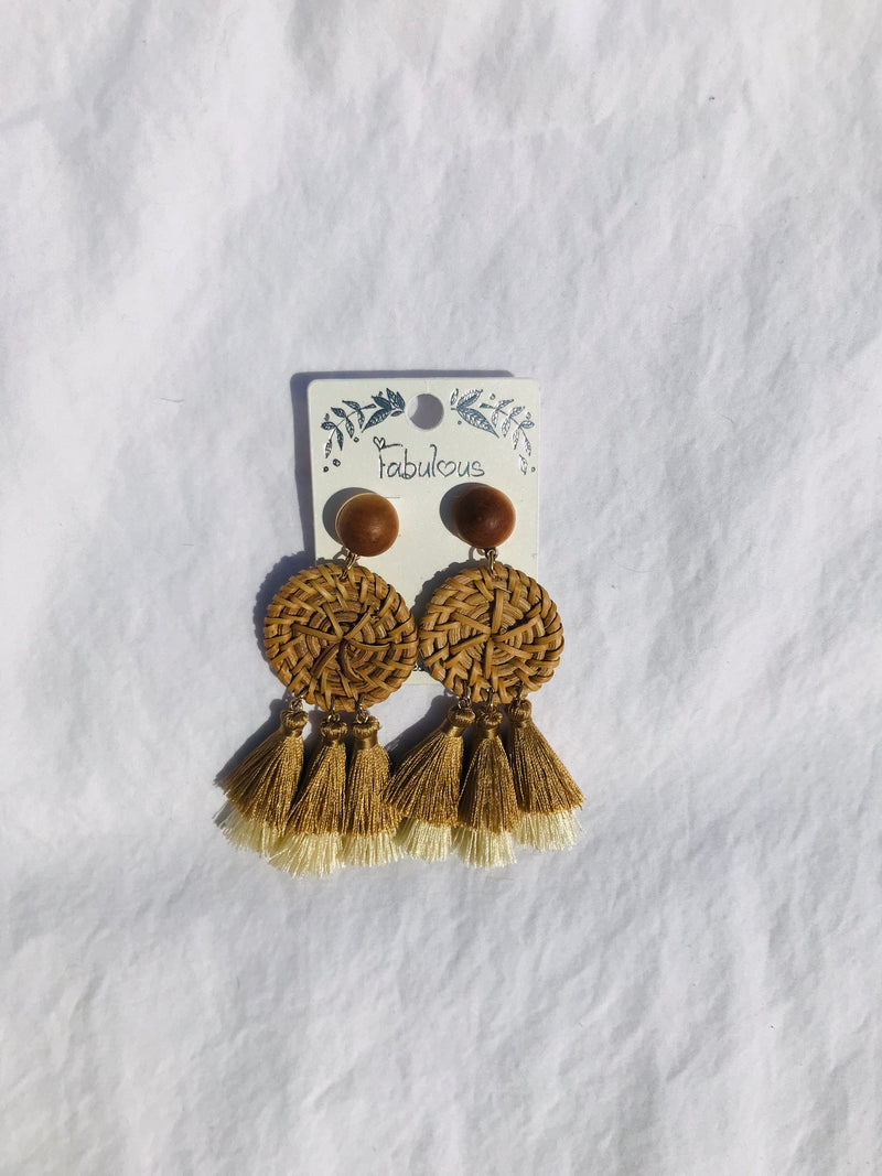 Tassel Earring - Natural Straw Woven