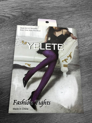 Purple Diamond Pattern Fashion Tights