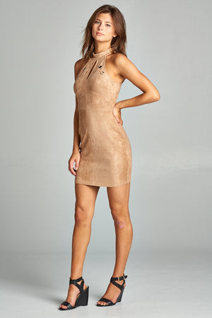 Suede Dress w/ Cut Out Hole Details