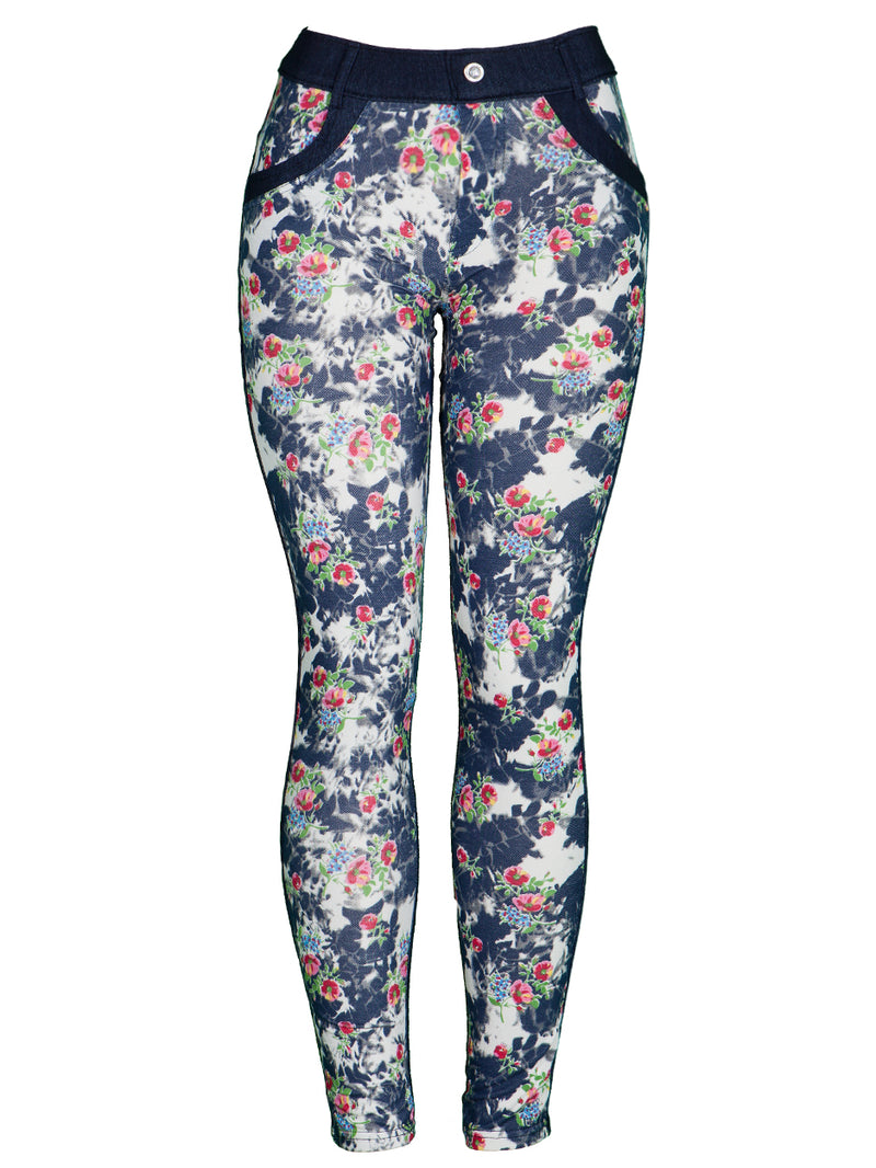 Dark Wash Floral Print Mid-Rise Jeggings