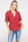 Surplice Peplum Polka Dot Top | 2 Colors Available