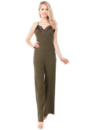 Fit and Flare Stripe Knit Lace Insert Jumpsuit | 2 Colors Available