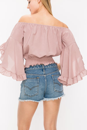 Wide Ruffle Detail Sleeves Off the Shoulder Top | 4 Colors