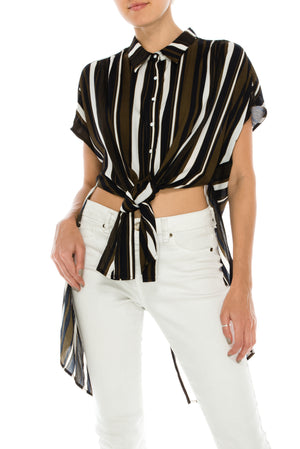 Oversized Tie Front Button Up Multi Color Stripe Blouse | 3 Colors