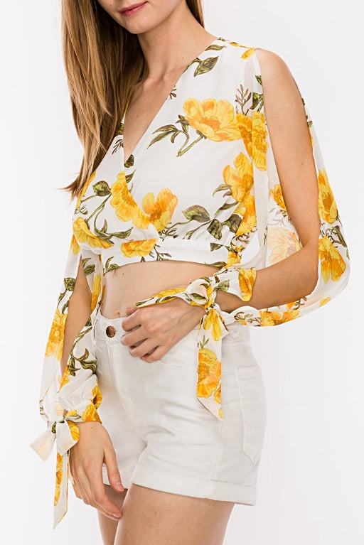 Floral Printed Crop Top With Side Open Sleeve