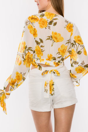Floral Print Side Open Sleeve Crop Top