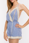 Lace Trim Cut Out Detail Cami Romper | 3 Colors Available