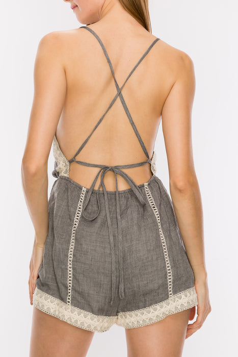 Lace Trim Cami Romper | 3 Colors Available