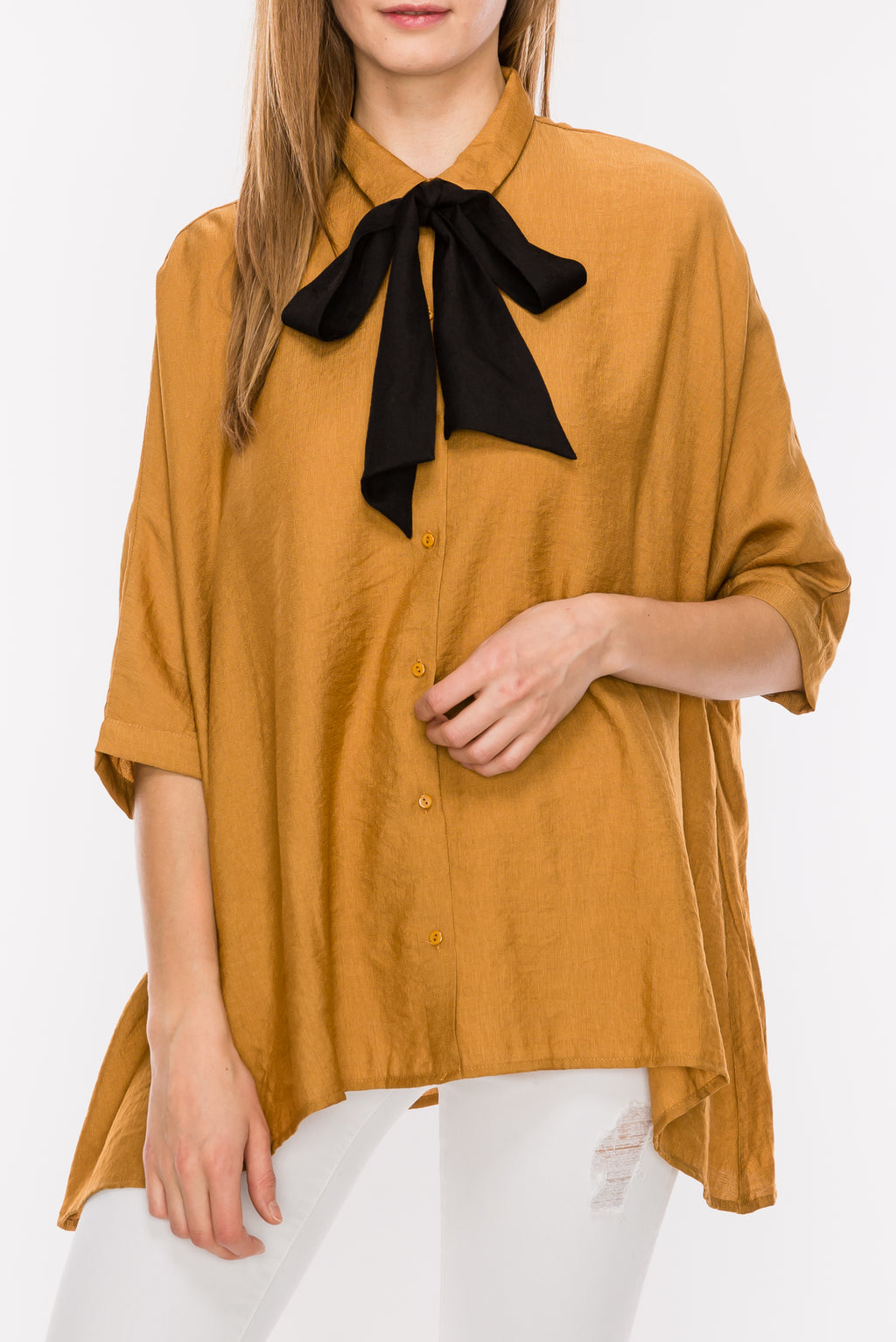 Flowy Collared Self Tie Bow 1/2 Sleeve Top | 3 Colors available