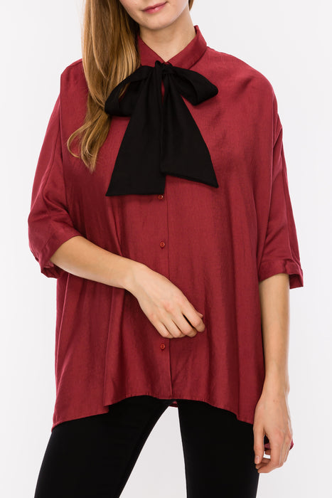 Collared Front Bow Tie Top | 3 Colors available