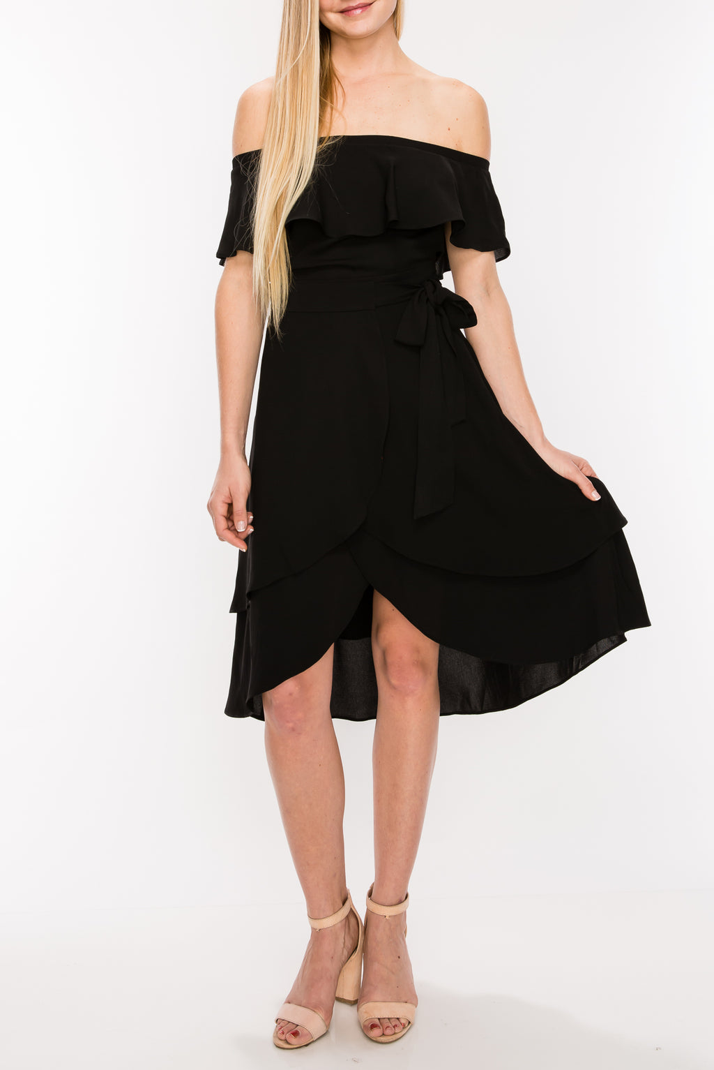 Off Shoulder Wrap Tie Dress | 2 Colors Available