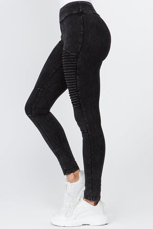 Half Side Pleated Leggings | 4 Colors