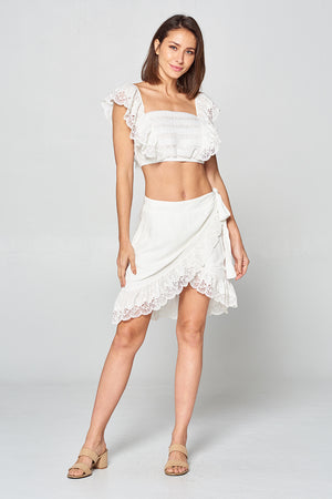 Cap Sleeve Eyelet Top and Skirt Set | 2 Colors