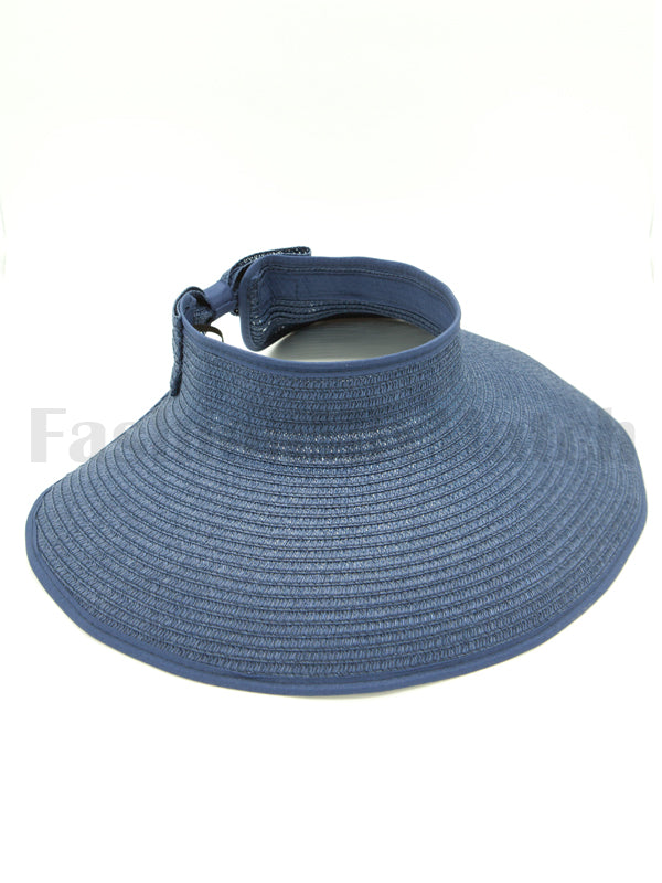 Ladies Open Velcro Ribbon Back Straw Visor