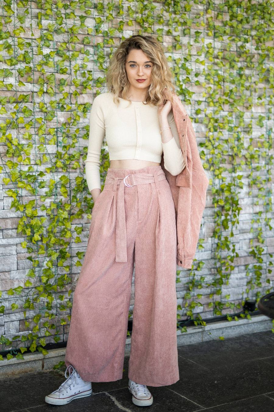 Corduroy Wide Leg Cropped Pants