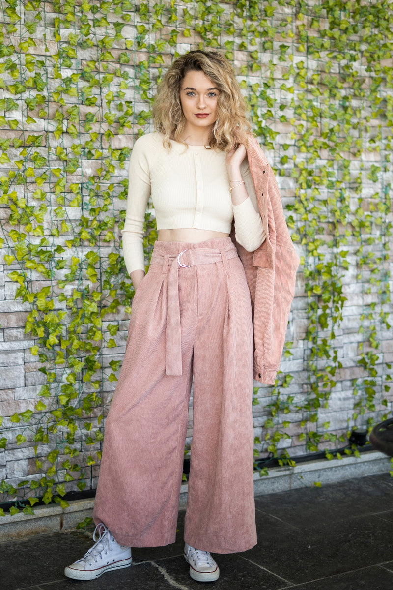 Corduroy Wide Leg Cropped Pants | 2 Colors Available