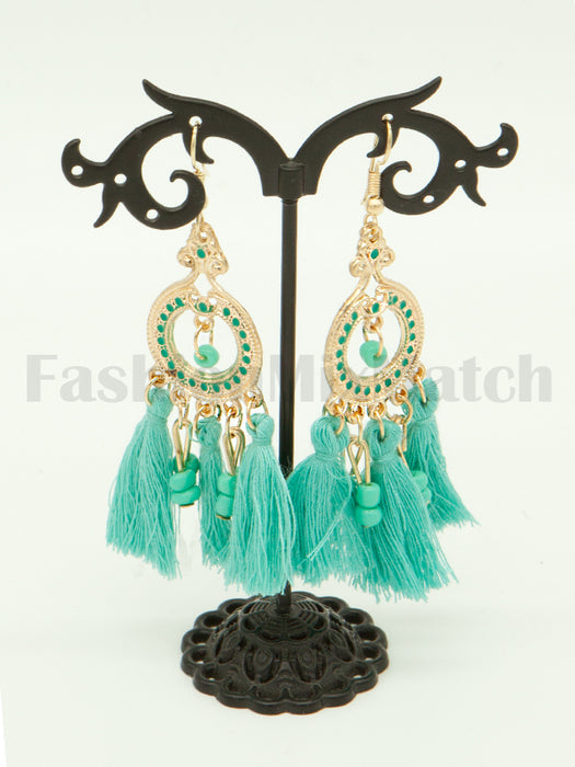 Beaded Detail Tassel Drop Earrings