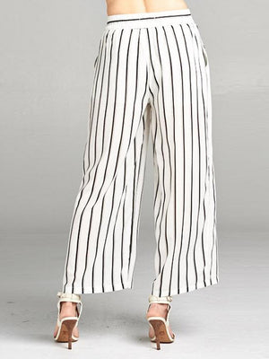 Vertical Striped Sheer Palazzo Pants | 2 Colors