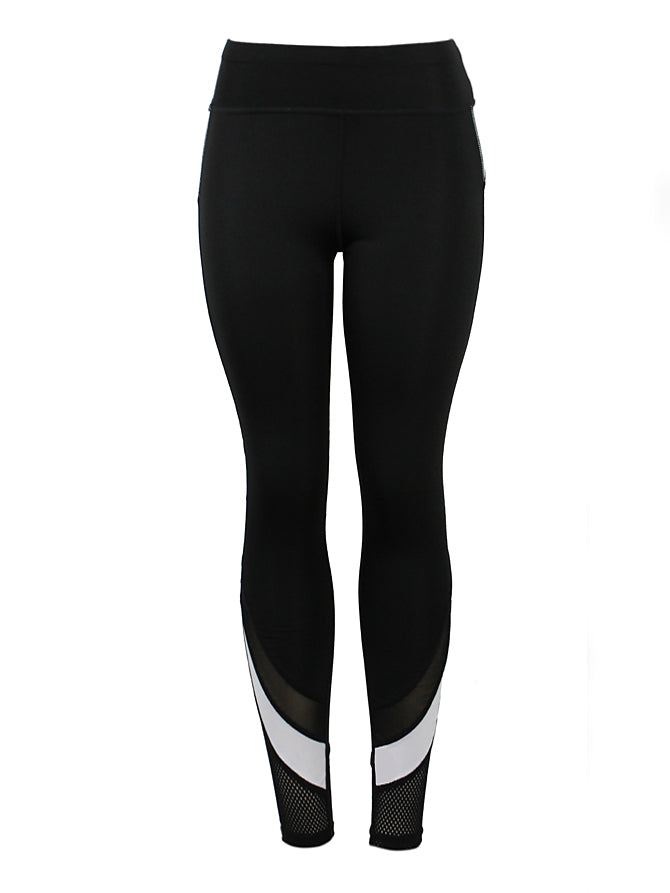 Fit Stripe w/ Fishnet Mesh Detail Active Pants