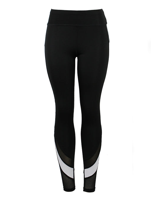 Active/Yoga Pants With Fishnet Ankle BLACK/WHITE