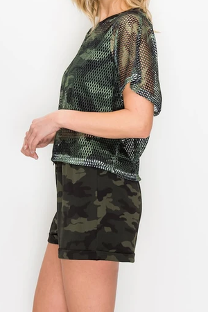 Camo Fish Net Mesh Crop Shirt & Short 2pc Set