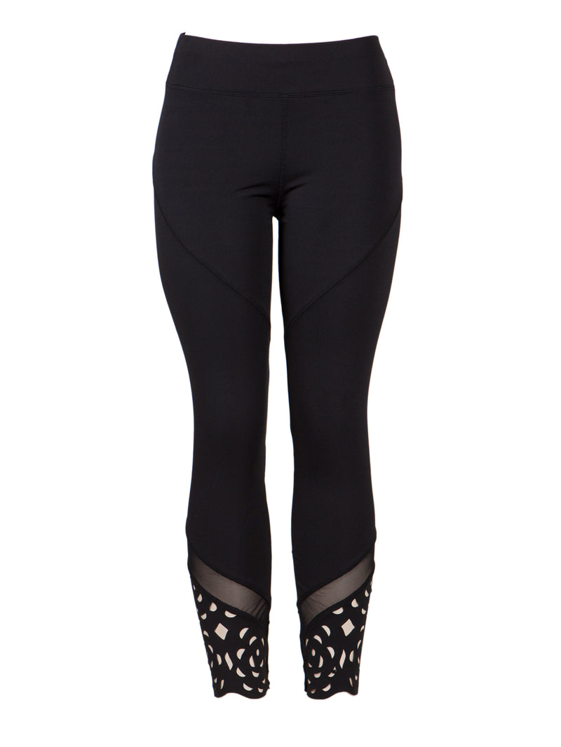 Black Flower Laser Cut Edge Fitness Active Pants