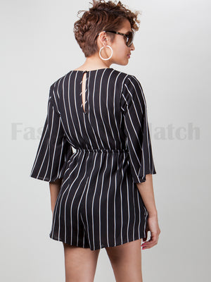 Elastic High Waist Band Deep V-Cut Vertical Striped Romper | 2 Colors