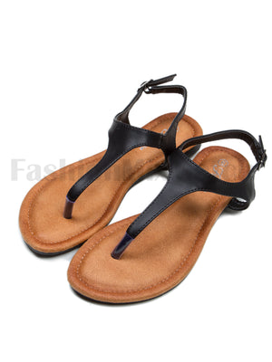 Faux Leather T-Strap Sandals