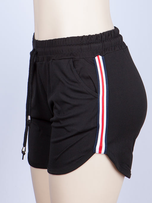 Side Color Striped Dolphin Hem Sports Shorts