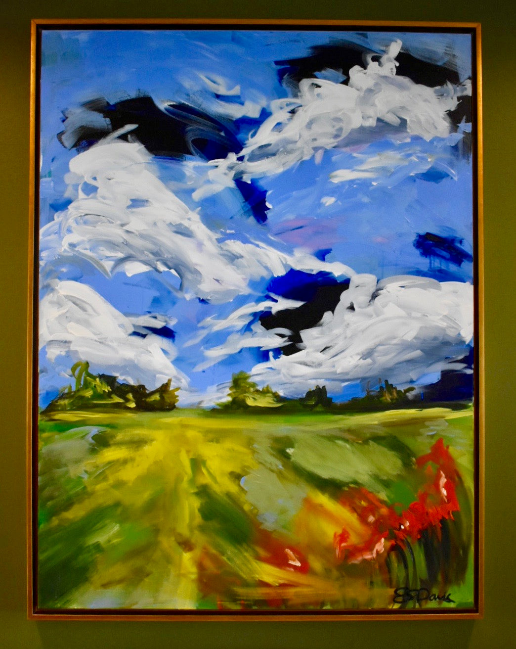 48x36, abstract landscape, acrylic on canvas, framed in gold float frame, SOLD