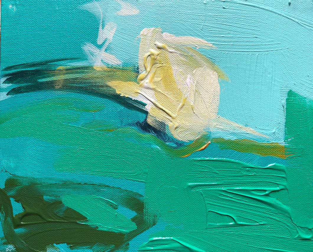 Mini Abstract, aqua, SOLD