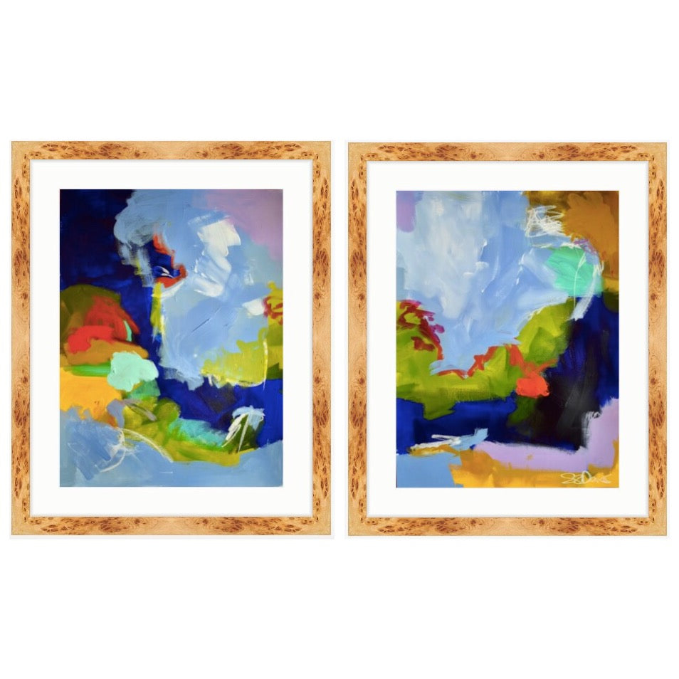 Abstract works on paper diptych