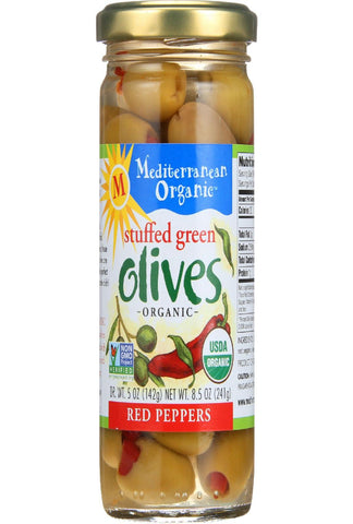 Mediterranean Organic Olives - Organic - Green - Stuffed - Red Peppers - 8.5 Oz - Case Of 12