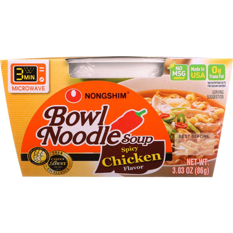 Nong Shim Soup - Bowl Noodle - Spicy Chicken Flavor - 3.03 Oz - Case Of 12