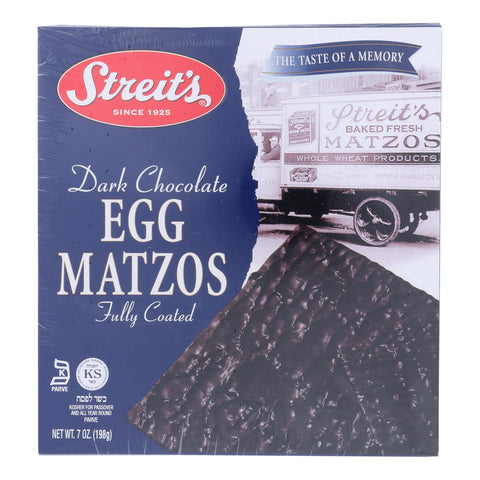 Streit's, Fully Coated Egg Matzos, Dark Chocolate - Case Of 12 - 7 Oz