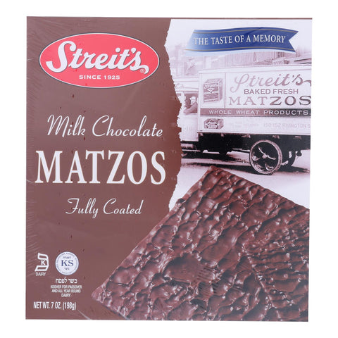 Streit's - Matzo Milk Chocolate Kosher For Passover - Case Of 12-7 Oz