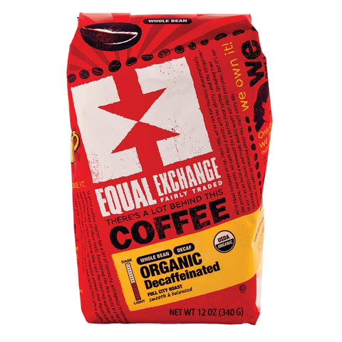 Equal Exchange Organic Whole Bean Coffee - Decaf - Case Of 6 - 12 Oz.