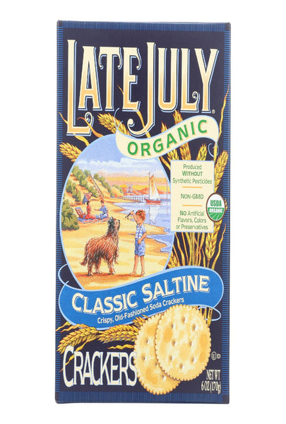 Late July Snacks Organic Round Saltine Crackers - Classic - Case Of 12 - 6 Oz.