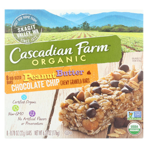 Cascadian Farm - Chewy Granola Bars - Peanut Butter Chocolate Chip - Case Of 12 - 6.24 Oz.