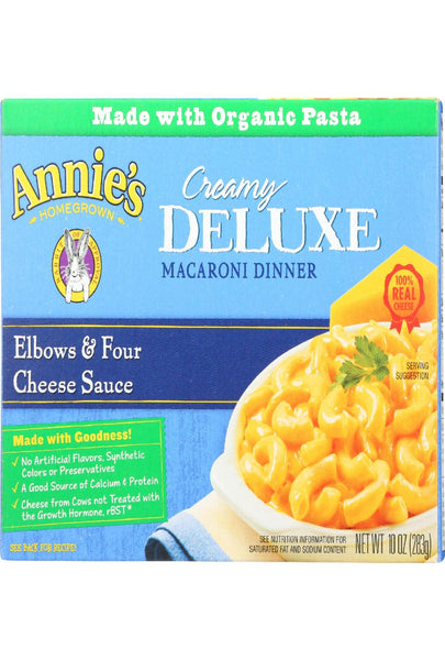 Annies Homegrown Macaroni Dinner - Creamy Deluxe - Elbows And Four Cheese Sauce - 10 Oz - Case Of 12