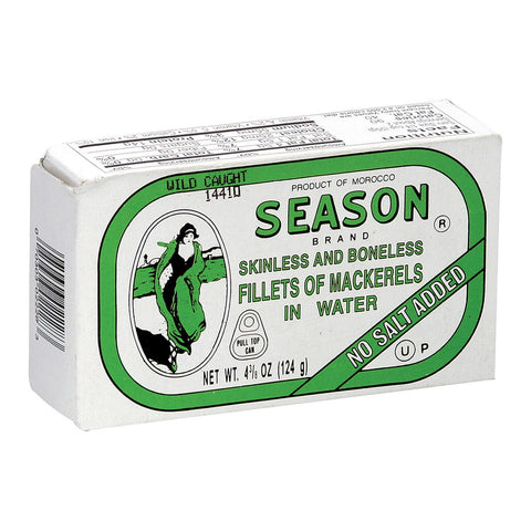 Season Brand Skinless And Boneless Mackerel Fillets In Water - No Salt Added - Case Of 12 - 4.375 Oz.