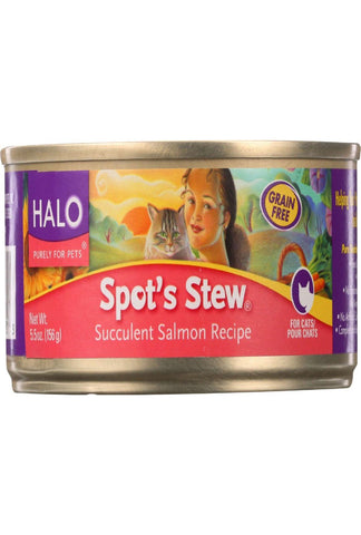 Halo Purely For Pets Cat Food - Spots Stew - Succulent Salmon - 5.5 Oz - Case Of 12